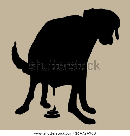 Pooping dog illustration - stock vector