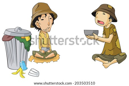 Poor cartoon male beggar beside the slum trashcan bin icon collection set, create by vector