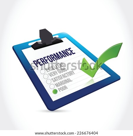 poor performance clipboard checklist illustration design over a white background - stock vector