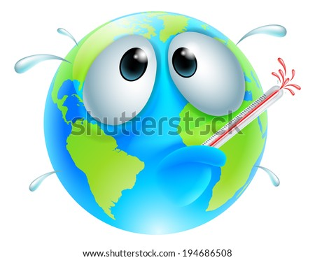 Poorly globe concept of a globe with a fever sweating and bursting a thermometer. Could be a concept for global warming - stock vector