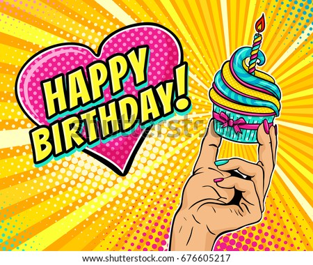 Candle dot stock images royalty free images vectors shutterstock pop art background with female hand holding cupcake with burning candle and speech bubble in form sciox Images