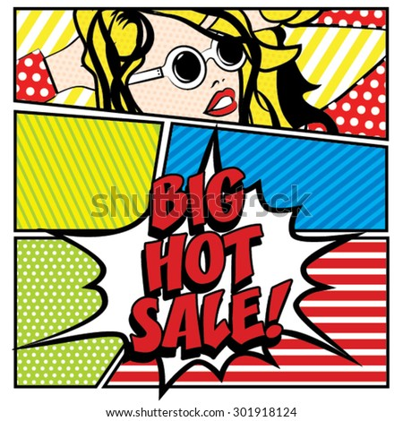 Pop art BIG HOT SALE Card Vector Illustration - stock vector