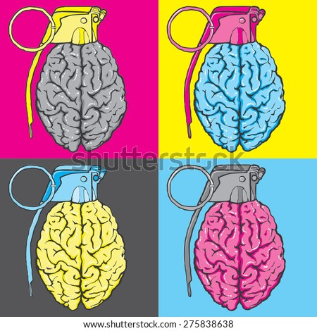 pop art brain bomb  - stock vector