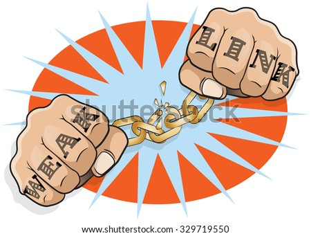 Pop Art Chained Fists Weak Link Tattoo. Great illustration of Pop Art Chained Fists with Weak Link Tattoo breaking free from the shackles of imprisonment in an act of defiance and redemption. - stock vector