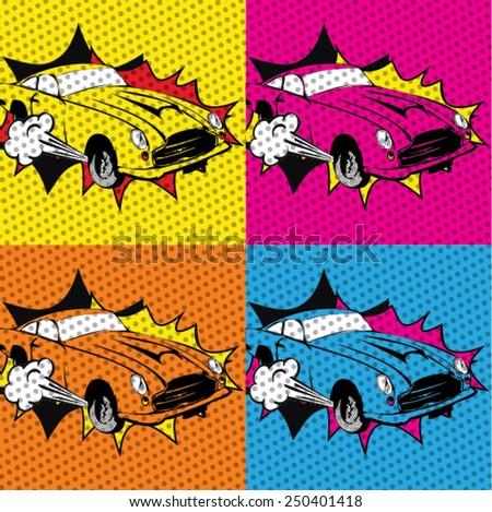 Pop art Colorful cars. Vector Illustration  - stock vector