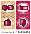 Pop art Comic Book Style Banners with Thumbs - stock vector