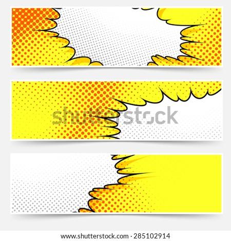 Pop-art comic book style yellow header set. Vector illustration - stock vector