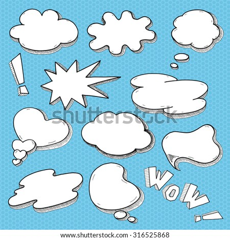 Pop art Comic Speech bubbles Set, Sketchy graphic word balloons for your design - vector illustration. - stock vector