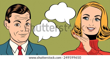 pop art cute retro couple in comics style with message, vector illustration - stock vector