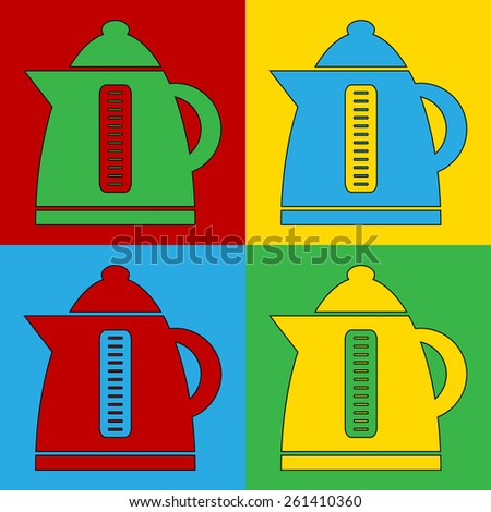 Pop art electric kettle symbol icons. Vector illustration. - stock vector