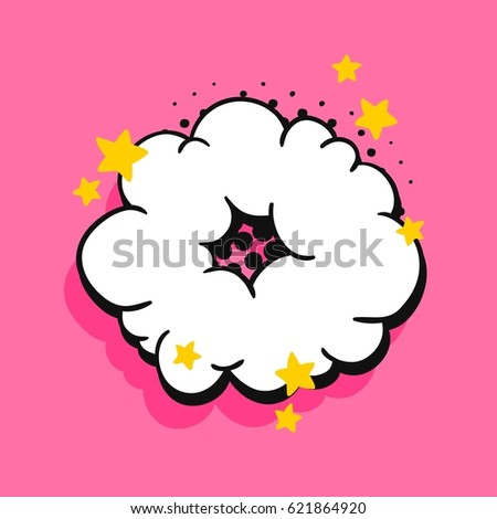 Pop art explosion or speech bubbles with text. Cartoon style vector collection. Comic illustration on pink background