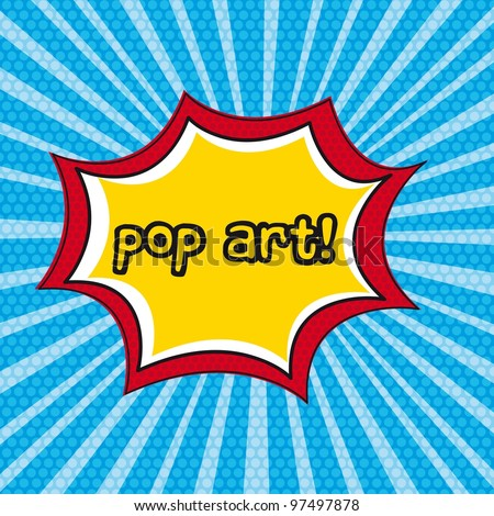 pop art explosion over blue background. vector illustration - stock vector