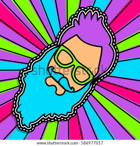 Pop art fashion chic HIPSTER patches, badges, pins and stickers. vector illustration.