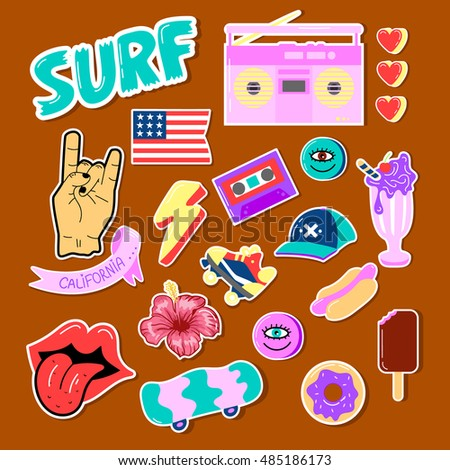 Pop art fashion chic patches pins badges and stickers hand drawn vector