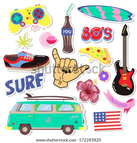 Pop art fashion patchespins badgesstickers hand drawn vector hipster