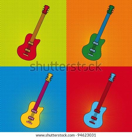 Pop Art Guitar Over Colorful Tiled Stock Vector 94623031 - Shutterstock