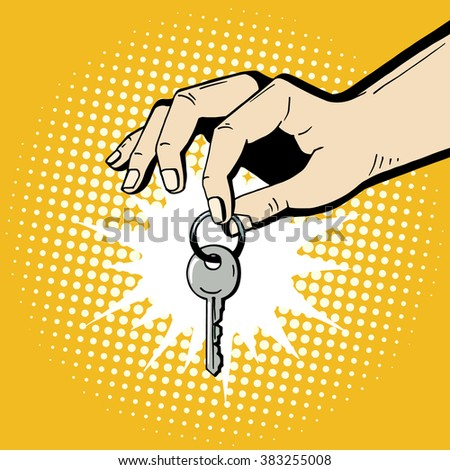 Pop art hand holding a house key. Comic hand drawn romantic illustration - man makes a present. Vector isolated on yellow halftone background. - stock vector