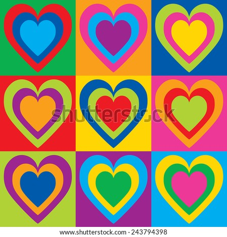 Pop Art Hearts in a colorful checkerboard design.  - stock vector