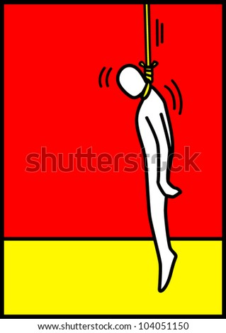Pop art illustration of a man figure being hanged - stock vector