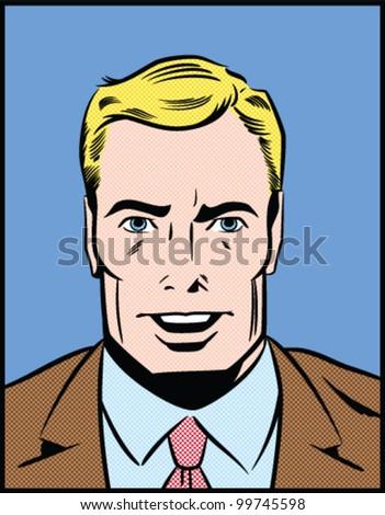 Pop Art Illustration of a Speaking Man - stock vector