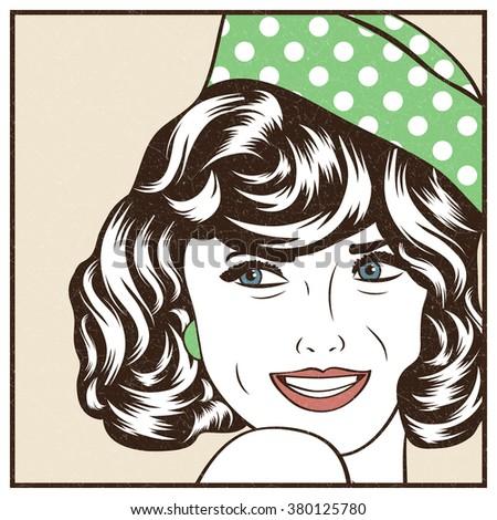 Pop Art illustration of girl - stock vector