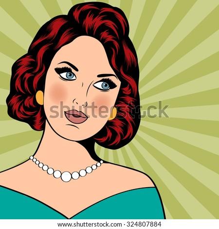 Pop Art illustration of girl. Pop Art girl. Party invitation. Birthday greeting card. Vintage advertising poster.  - stock vector