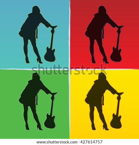 pop art illustration of girl with guitar on coloured backgrounds. EPS 10