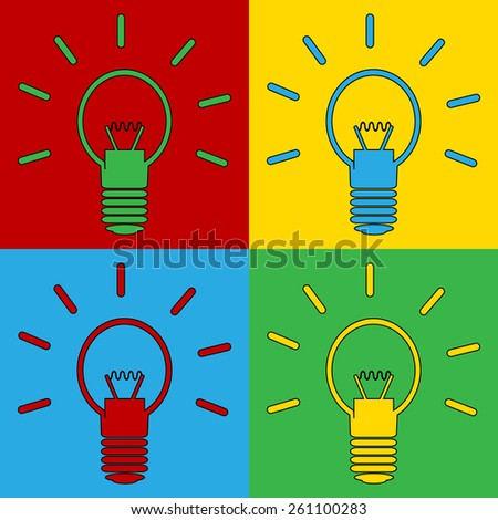 Pop art light bulb symbol icons. Vector illustration.