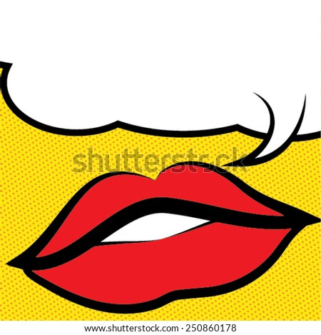 Pop art lips - bubble. Vector Illustration. - stock vector