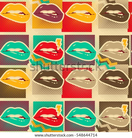 Pop art lips copies seamless pattern Retro style art print