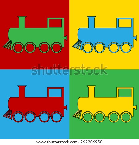 Pop art locomotive symbol icons. Vector illustration. - stock vector