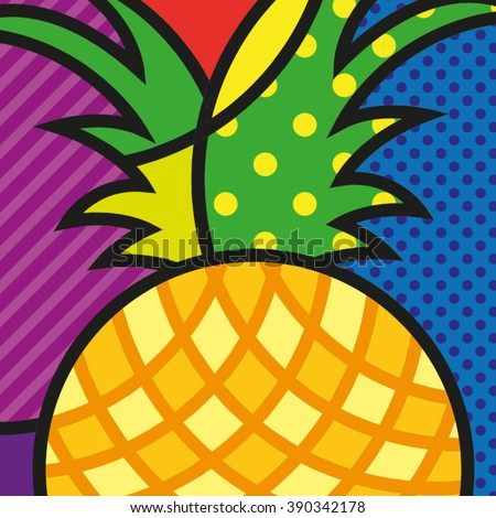 POP ART Pineapple, Colorful Ananas, Fruit Icon, Vector Illustration. Single juicy pineapple with on the colorful background. Popart Illustration of a tropical fruit for your design. - stock vector