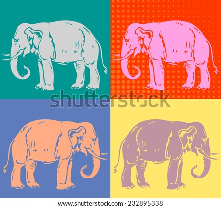 Pop art poster with elephant - stock vector