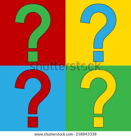 Pop art question symbol icons. Vector illustration. - stock vector