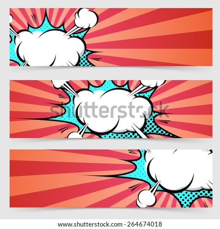 Pop art ray light style header footer collection layout explosion banner set with red stripes. Vector illustration