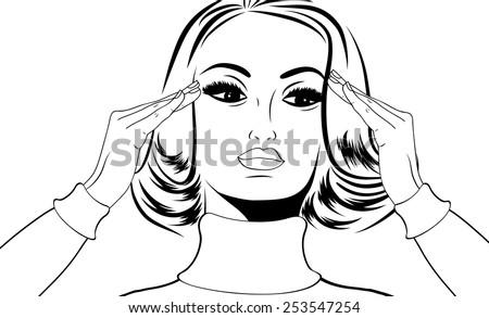 pop art retro woman in comics style with migraine, vector illustration - stock vector