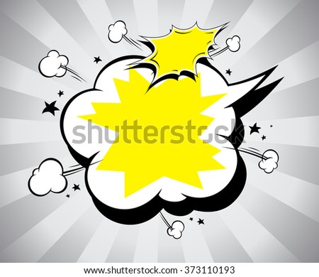 Pop-art speech bubble in grey with yellow color with place for text