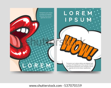 Pop art style brochure flyers template stock vector 537070159 pop art style brochure flyers template design with wow speech bubble vector illustration toneelgroepblik Gallery