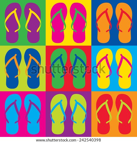 Pop Art style flip flops in a colorful checkerboard design.  - stock vector