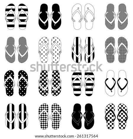 Pop Art style flip flops in a colorful checkerboard design. 10 eps - stock vector