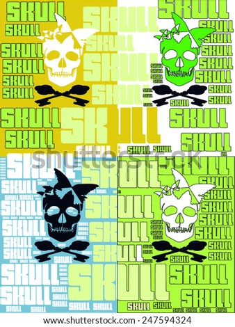 pop art style illustration for halloween. four skulls with keys, four colors with ' skull ' words ' background vector print pattern. celebration, greeting, gift card,  t shirt print, poster design.