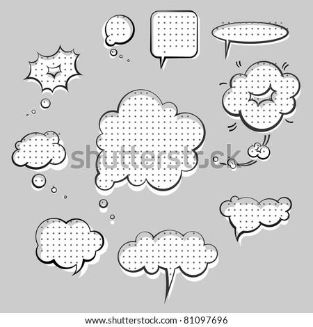 pop-art style speak clouds ink graphic set - stock vector