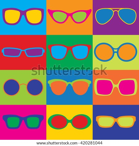 Pop-Art styled illustration of generic eyeglass frame styles in a colorful checkerboard. Can also be used as a repeat pattern.