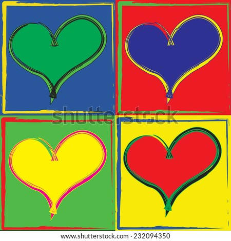 Pop art styled set of hearts