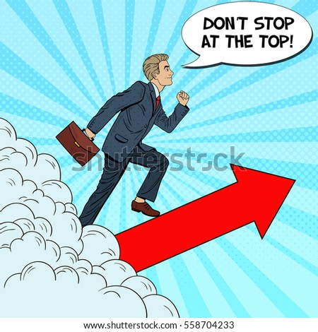 Pop Art Successful Businessman Walking to the Top through the Clouds. Vector illustration