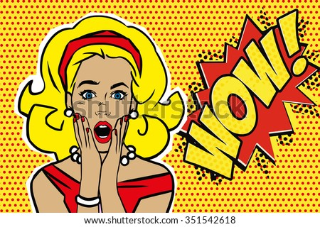 Pop art surprised blond woman face with open mouth. Comic woman with speech bubble. Wow! Vector illustration. - stock vector
