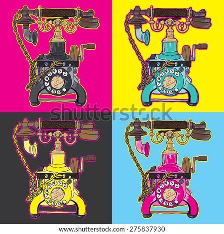 pop art telephone - stock vector