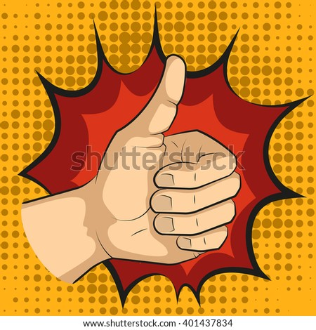 Pop art thumbs up hand sign, like hand gesture, comic style illustration.