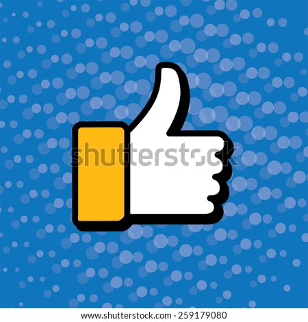 pop art thumbs up & like hand symbol used in social media - vector icon. this also represents appreciation, endorsing, approval, confirmation, vote, recommend, gesture - stock vector