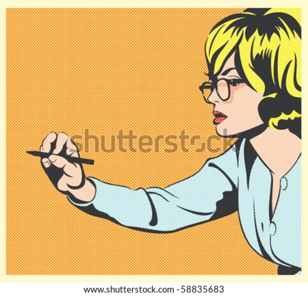 Pop Art Vector Illustration of a Woman Writing - stock vector